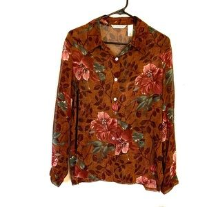 French Laundry Button Down Floral Blouse Brown L